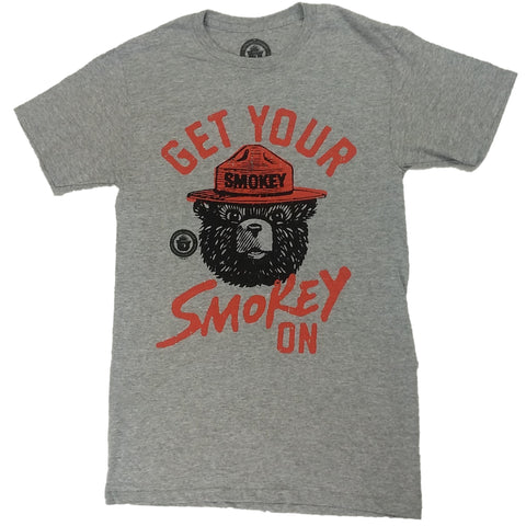 Get Your Smokey on Bear Fire Prevention Mens Grey T-Shirt
