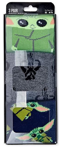 Grogu Baby Yoda Star Wars 3 Pair Pack Men's Crew Socks
