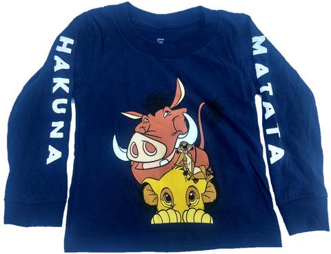 Hakuna Matata Lion King Simba Timon Pumba Boys Long Sleeve T-Shirt (Blue)