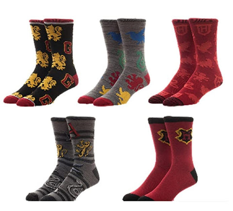 Bioworld Harry Potter 5 Pair Pack Casual Crew Socks
