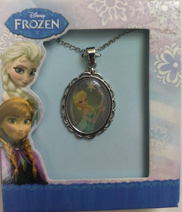 "Disney Princess Elsa Oval Pendant Necklace 16"" Chain with 2"" Extension"
