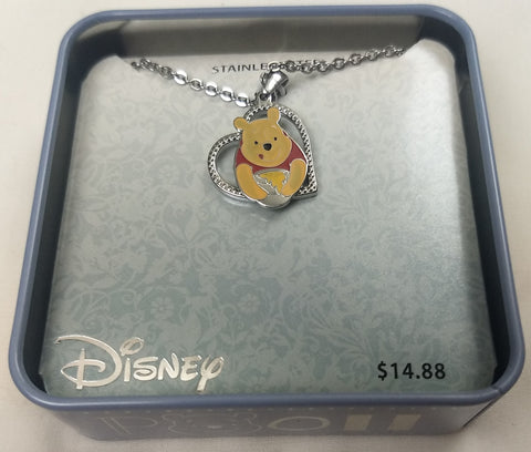 Disney Winnie The Pooh Stainless Steel Heart Pendant Chain Necklace