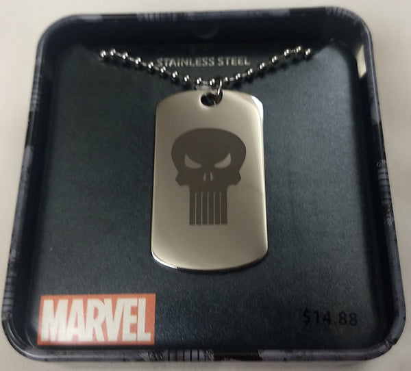 Punisher Skull Marvel Stainless Steel Dog Tag Pendant w/ Chain