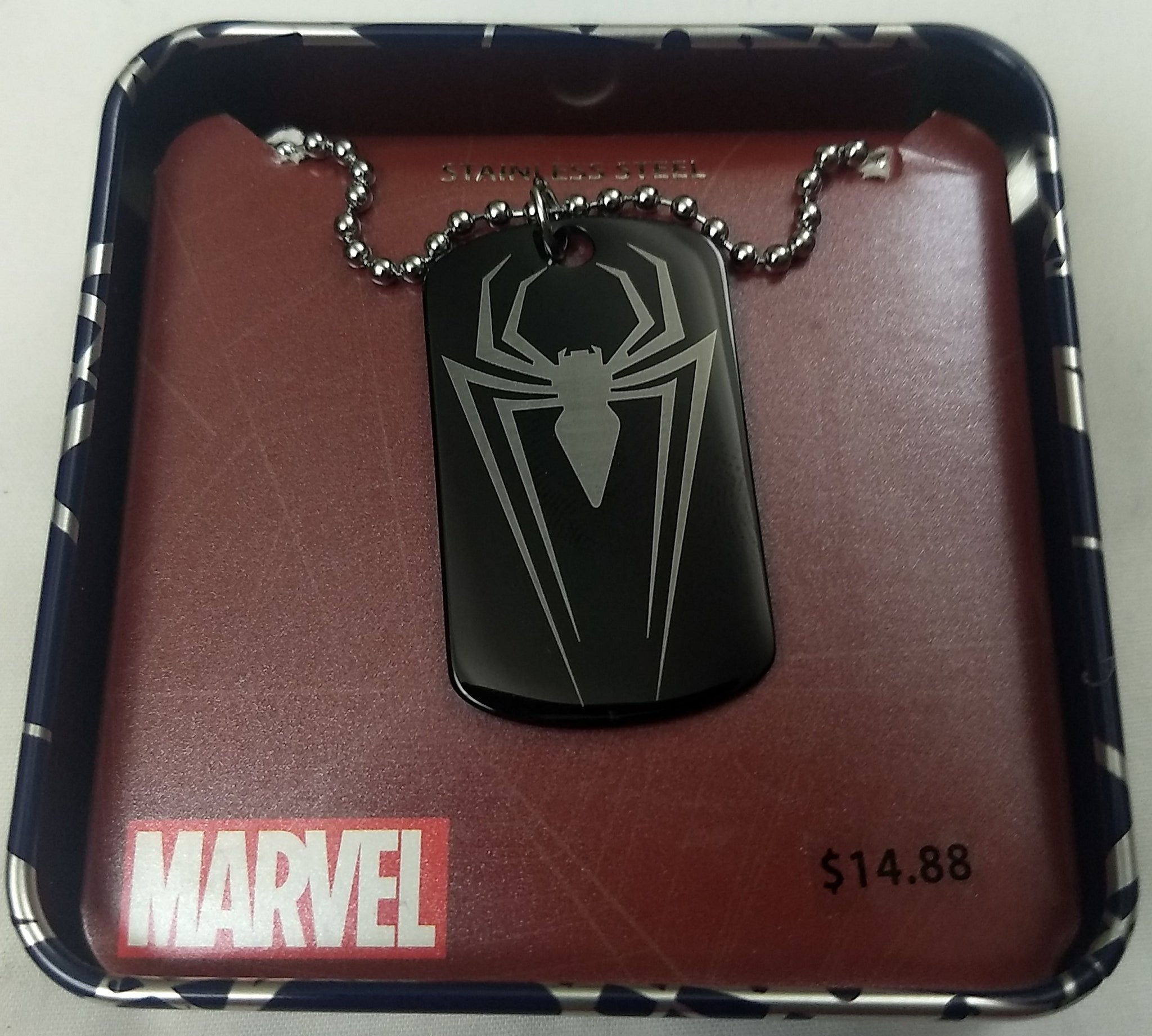 SpiderMan Logo Marvel Stainless Steel Dog Tag Pendant w/ Chain