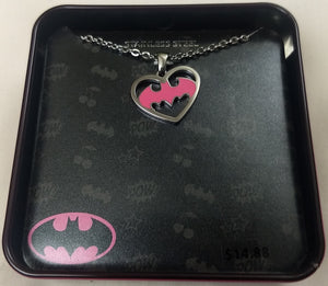 Batman Logo Heart Marvel DC Comics Stainless Steel Pendant w/ Chain
