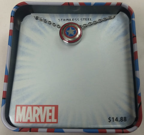 Captain America Shield Marvel Stainless Steel Pendant w/ Chain