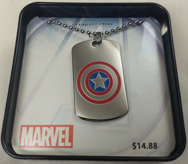 Captain America Marvel Stainless Steel Dog Tag Pendant w/ Chain
