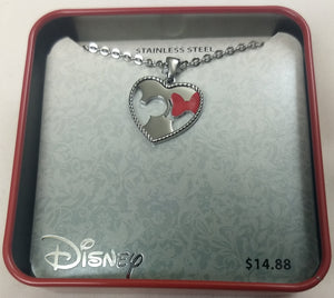 Disney Minnie & Mickey Mouse Stainless Steel Heart Pendant Chain Necklace