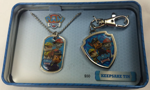 Paw Patrol Dog Tag & Keychain Viacom Collector Tin