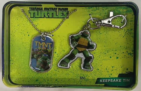 Teenage Mutant Ninja Turtles TMNT Dogtag & Keychain Nickelodeon Collector Tin