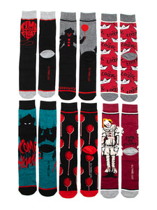 IT Movie Pennywise Scary Clown 6 Pair Pack Mens Casual Crew Socks