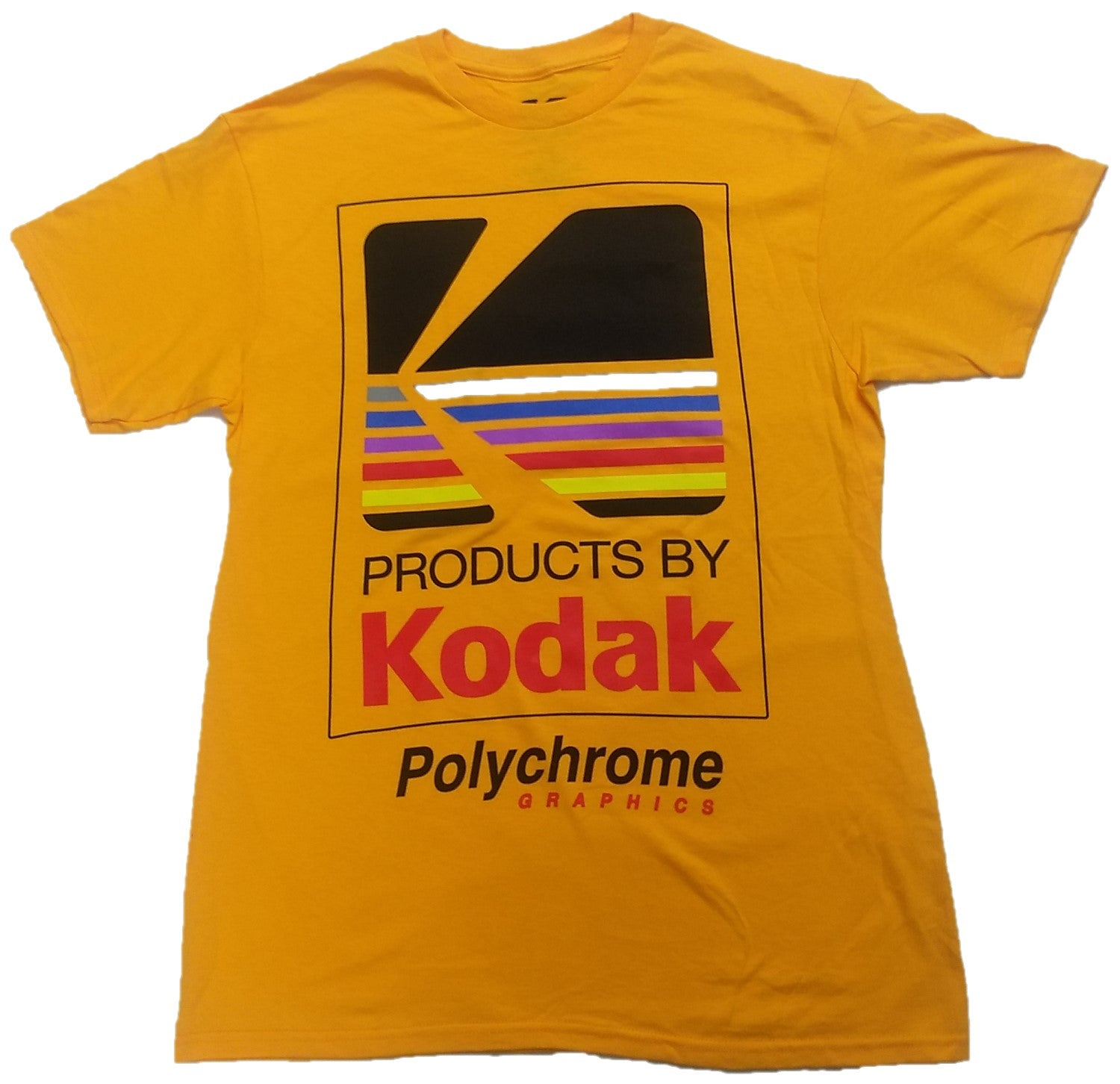 Kodak Camera Polychrome Graphics Vintage Mens T-Shirt (Yellow)