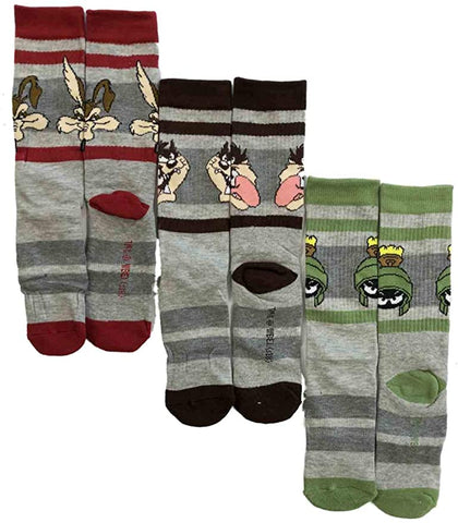 Looney Tunes Mens 3 Pair Athletic Crew Socks Taz Marvin the Martian Wiley Coyote