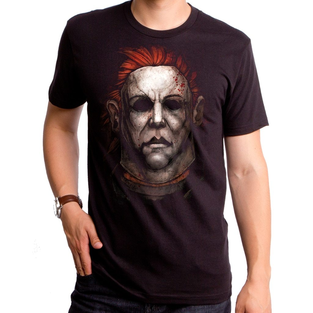 Mens Halloween Michael Myers Painting T-Shirt Graphic Tee