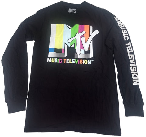 MTV Music Television Rainbow Long Sleeve Mens T-Shirt
