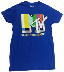 MTV Music Television Viacom International Mens T-Shirt (Blue)