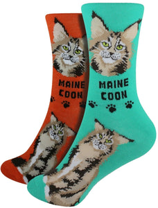 Maine Coon Foozys Feline Cat Crew Socks
