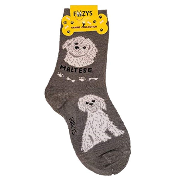 Maltese Foozys Canine Dog Crew Socks