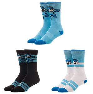 Bioworld Capcom Megaman Athletic Crew Socks (Pack of 3)