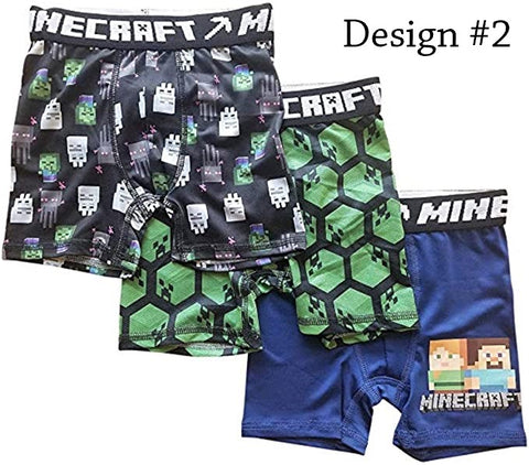 Minecraft Boxer Briefs Boys 3 Pack Action Underwear