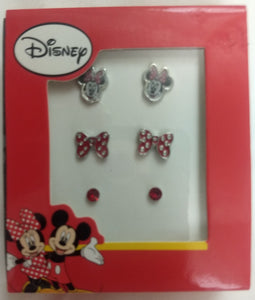 Minnie Mouse Bow Stud Earrings Set of 3