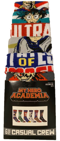 My Hero Academia 6 Pair Pack Casual Crew Men Socks