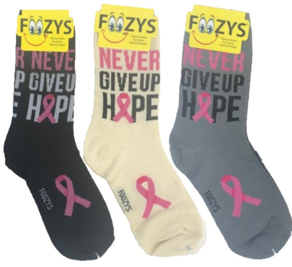 Never Give up Hope Cancer Awareness Foozys Womens Crew Socks