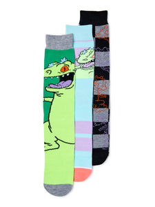 Reptar Rugrats Nick 90s Socks 3 Pair Pack Men's Crew Socks