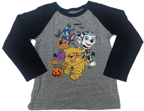 Nick Jr Paw Patrol Nickelodeon Halloween Boys Long Sleeve T-Shirt (Grey)