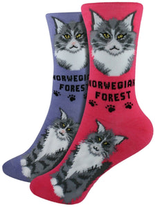 Norwegian Forest Foozys Feline Cat Crew Socks