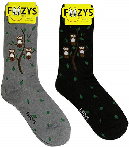 Owl Family Tree Foozys Womens Crew Socks