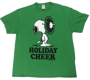 Peanuts Snoopy Dog Wreath Holiday Cheer Mens Green T-Shirt