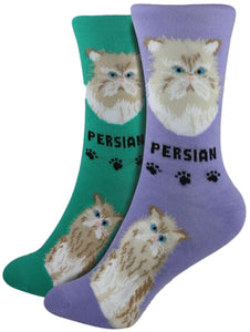 Persian Foozys Feline Cat Crew Socks