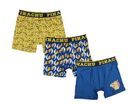Pokemon Pikiachu Boxer Briefs Boys 3 Pack Action Underwear