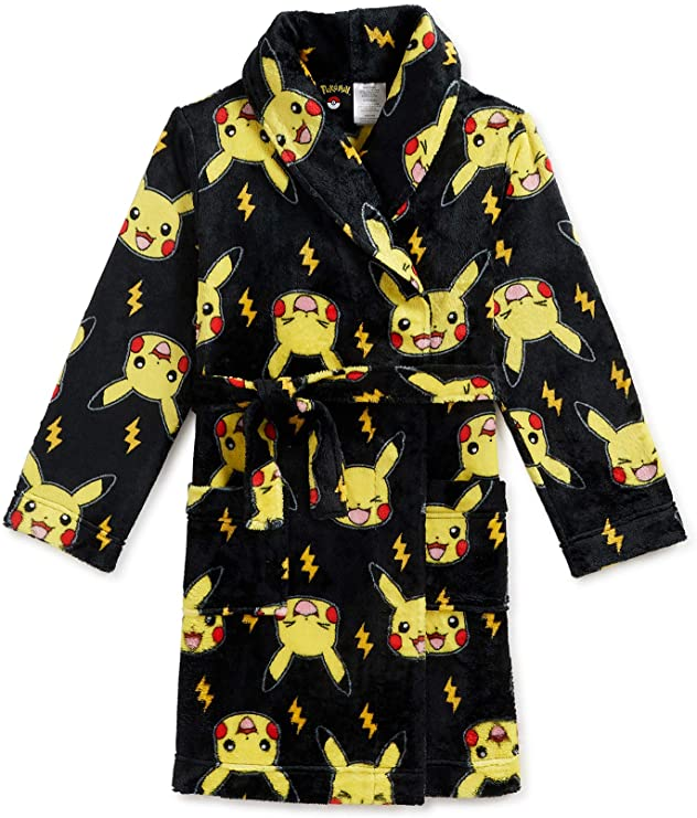 Pikachu Pokemon Boys Plush Robe Bathrobe