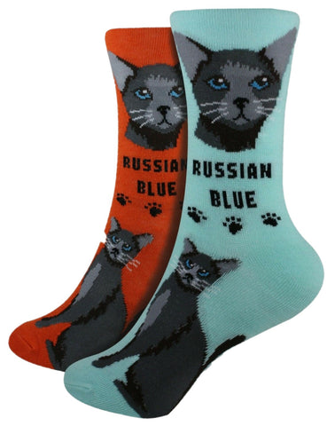Russian Blue Foozys Feline Cat Crew Socks