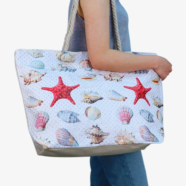 Shells & Starfish Rhinestones Ladies Women's Tote Bag