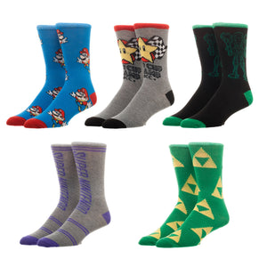 Bioworld Super Nintendo Mario Zelda Metroid 5 Pair Pack Casual Crew Socks