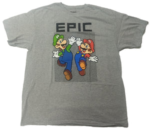 Super Mario Bros. Luigi Epic Hand Slap Gray Mens T-Shirt