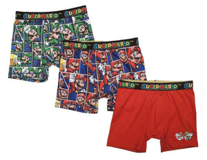 Super Mario Luigi Boxer Briefs Boys 3 Pack Action Underwear