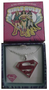 Superman Logo Crystal Pendant Silver Plated Girls Rule