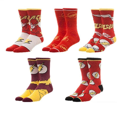 BioWorld DC Comics The Flash 5 Pair Pack Casual Crew Socks