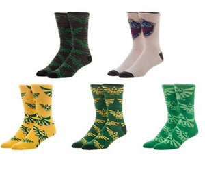 Bioworld Legend of Zelda Gamer Crew Socks Five Pair Pack Casual Crew