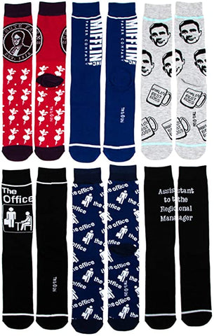 The Office NBC Universal 6 Pair Pack Casual Crew Men Socks
