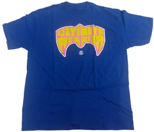 Ultimate Warrior Face Mask WWE WWF Mens Blue T-Shirt