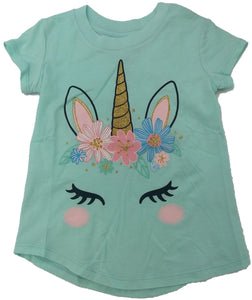 Unicorn Flowers Sparkle Girls Jumping Beans T-Shirt (Mint Green)