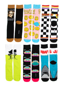 Universal Dazed Confused Jaws ET 6 Pair Pack Mens Casual Crew Socks