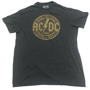 AC/DC ACDC High Voltage Rock And Roll 1976 Mens Grey T-Shirt