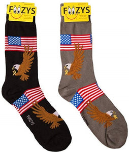 Bald Eagle American Flag Patriotic Foozys Men's Crew Socks Foozy