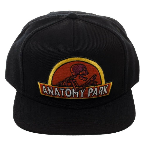 Authentic RICK AND MORTY Anatomy Park Logo Embroidery Snapback Hat Black NEW
